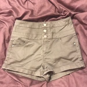 High waisted button down shorts.